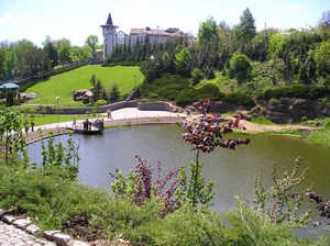 парк, озеро, замок