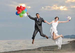 брак, свадьба, море